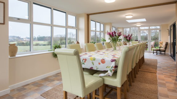 Dining room with divider open, shared with Parsons